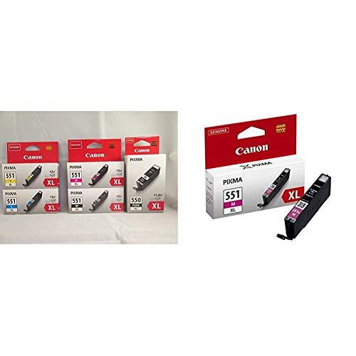 Canon Cartuchos de Tinta Original BK/C/M/Y/PGBK XL para Impresora de Inyeccion de Tinta Pixma + CLI-551XL M Cartucho de Tinta Original Magenta XL para Impresora de Inyeccion de Tinta Pixma