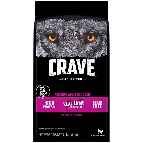 CRAVE Grain Free Adult High Protein Natural Dry Dog Food with Protein from Lamb and Venison, 4 lb. Bag