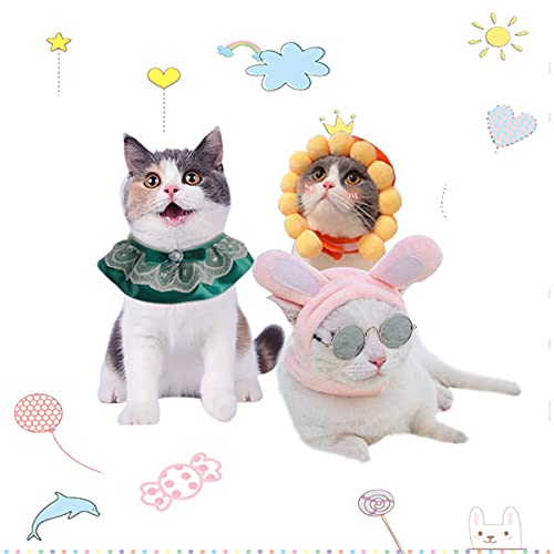 Cat Hat 2pcs, Pet Dog Bunny Hat with Ears Cute Sunflower Pet Plush Cap, Adjustable Headwear for Cat Kitten Puppy Dress up Festival Birthday Party Cosplay Costume Photo Prop, Free Cat Bandana Collar