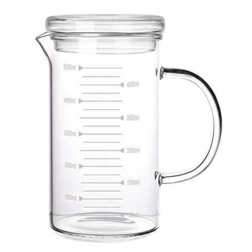 500ml Glass Measuring Cup with Lid Heat Resistant Handle Measured Mixing Glass Mug Clear Scale V-Shaped Spout for Milk Coffee Liquid Beaker Drinking Glasses Measure Jugs, Microwave Oven Freezer Safe