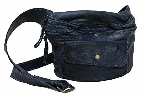 BZNA Bag Gin blue Italy Designer Gürteltasche Umhängetasche Schultertasche Tasche Leder Shopper Neu