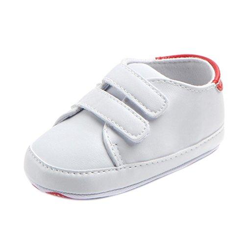 FNKDOR Baby Erste Schuhe Neugeborenen Lauflernschuhe Weiß Krabbelschuhe (6-12 Monate, Rot)