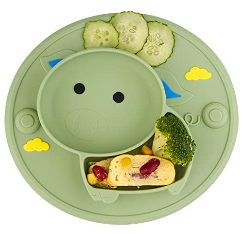 Baby Plate Silicone Suction Toddler Plates, Divided Dishes for Toddler Kids, Self Feeding, BPA Free, Microwave & Dishwasher Safe