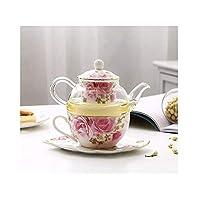 家庭用ホームオフィス用の絶妙なセラミックガラスティーセット、ヨーロッパのプリントパターンアフタヌーンティーセットコーヒーセット、ティーポットとティーカップ(色:牧歌的な花)