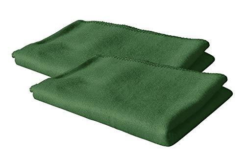 KiGATEX 2er Pack Polar Fleecedecke Uni 130x160 cm in vielen Farben ca. 420g pflegeleicht (moos)