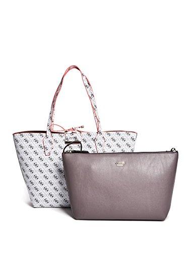 GUESS Bobbi Inside Out Reversible Shopper Travel Tote Bag Handbag & Removable Pouch 2PC - White