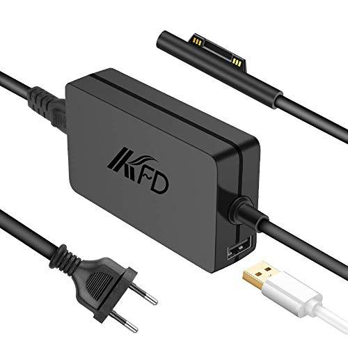 KFD Adaptador 15V 4A 65W Cargador Portátil para Microsoft Surface Book, Surface Laptop, Surface Pro 3/Pro 4/Pro 5/Pro 6/Pro X/Pro 7, Surface Go, Surface Pro 3 Pro 4 Modelo 1800 1706 con Puerto del USB