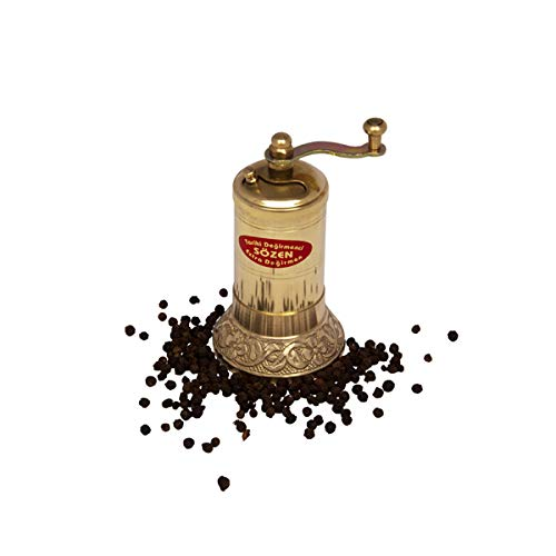 "4.3"" Handmade Manual Brass Pepper Mill Grinder Sozen, Portable Conical Burr Pepper Mill, Portable Hand Crank Turkish Pepper Grinder"