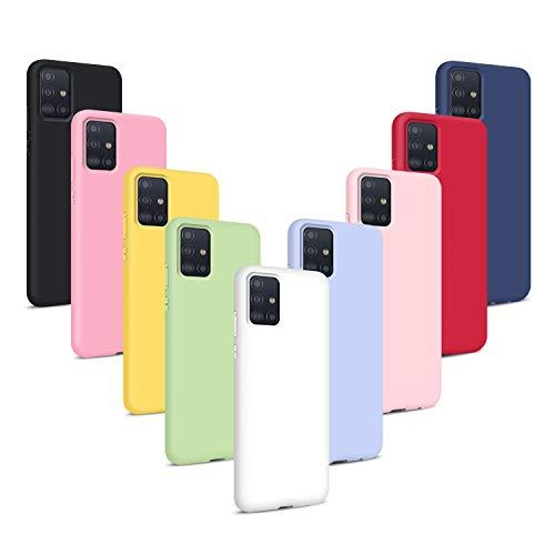 9X Funda para Samsung Galaxy A51 4G, Carcasas Flexible Suave TPU Silicona Ultra Delgado Protección Caso(Rojo + Rosa Claro + Púrpura + Amarillo + Rosa Oscuro + Verde + Negro + Azul Oscuro)
