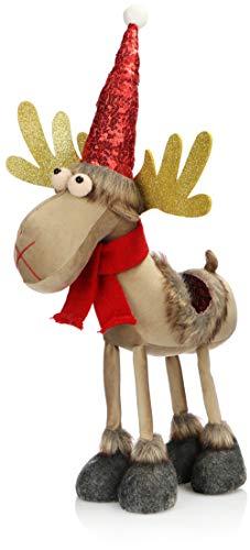com-four® Reno de Navidad Premium Talla XL para decoración