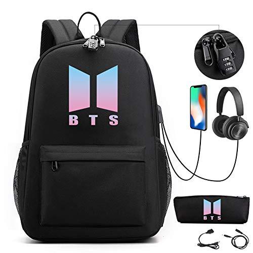 AliKpop USB BTS Theft Proof Bookbag Travel Backpack Jimin Suga Jin Taehyung V Jungkook Korean Casual Backpack Daypack Laptop Bag College Bag School Bag With Pencil Case Bag Code Lock