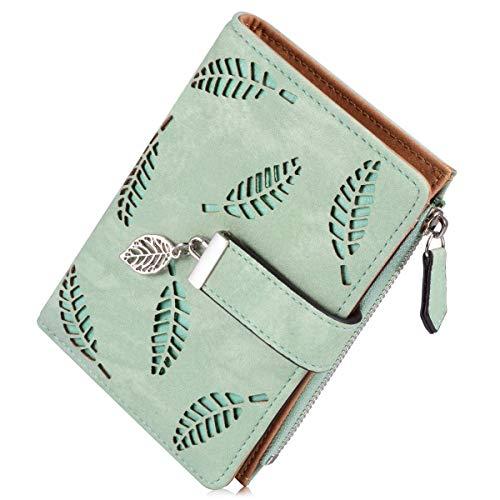 Liujiaba Weibliche Portemonnaie, Art und Weise PU Leder Hohle Blatt Kleine Geldbeutel Große Kapazität Wallets (Grün)