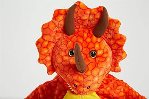 Emmarcon - Pijama Kigurumi - Pijama modelo animalito - Mono enterizo - Ideal incluso como disfraz de Halloween, para fiestas cosplay, etc - Pijama unisex para adulto Dinosaurio naranja S