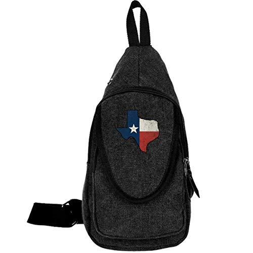 Vintage Texas Flag Canvas Chest Bag für Trekking Wandern Casual Tasche für Männer Frauen Kaffee