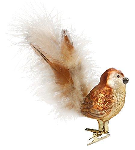 Uccello procaci passero, albero di Natale ciondolo, Original Inge vetro dalla Turingia, Vetro soffiato, dipinto a mano