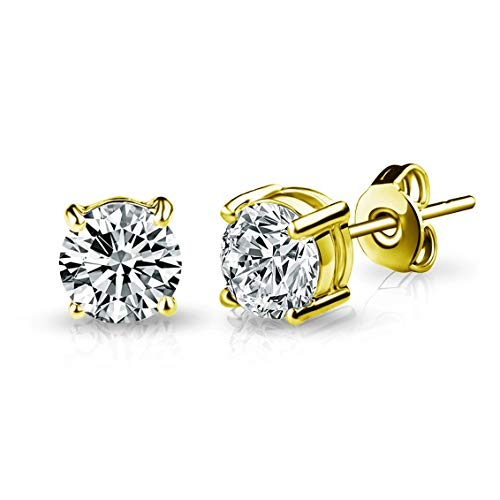 Gold Solitaire Crystal Stud Earrings Created with Austrian Crystals