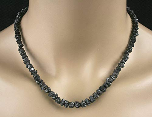 Rohdiamant Kette - Collier in schwarz, 107 ct, sehr große Diamanten, Selten!