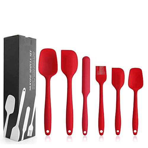 Silicone Spatula Set - 6 Piece Non-Stick Rubber Spatula Set with Stainless Steel Core