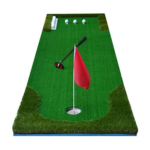 Schlagmatten Golf-Putting-Grün Indoor-Golfplatz Rasen für draußen Putting-Praxis Mini-Kunstrasen-Übungsdeckenset Golfschläger senden (Color : Green, Size : 300 * 75 * 6cm)