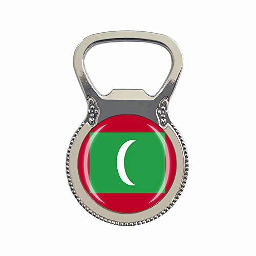 Flaschenöffner mit Malediven-Flagge, Kühlschrankmagnet, Metallglas, Kristall, Reisesouvenir, Geschenk, Heimdekoration