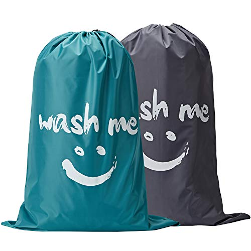NICOGENA Wash Me Laundry Bag 2 packs, 28x40 inches Rips & Tears Resistant Large Dirty Clothes Storage Bag, Machine Washable, Heavy Duty Laundry Hamper Liner for College Students, Light Blue and Grey