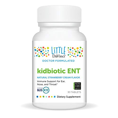Little DaVinci, kidbiotic ENT, BLIS K12 Probiotic for Kids, Ear, Throat and Sinus Supplement, Strawberry and Vanilla Flavor, 30 Tablets