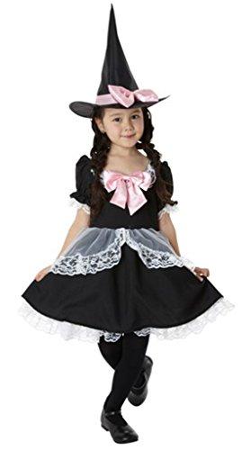 Bigood Costumes Déguisement Cosplay Princesse Sorcière Maid Aimable Enfant Fille pour Halloween XL