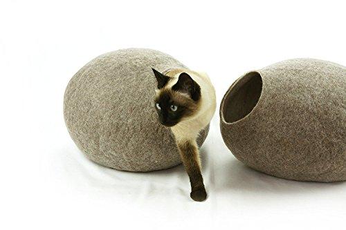 猫ベッド、ペットハウス、洞穴、うたた寝用の繭(コクーン)、100%ウールの100%ハンドメイド、Kivikis製 サイ...