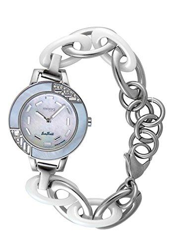 Moog Paris Seashell Damen Uhr mit Weißem Perlmutt Zifferblatt, Swarovski Elements & - Armband aus Edelstahl und Keramik - M45074-101