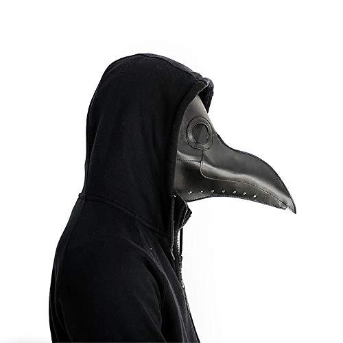 Changlesu Mscara de doctor de la peste mscara de pico mdico mscara de nariz larga Cosplay mscara de lujo gtica retro rock cuero Halloween pico mscara (negro)