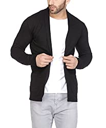 Tinted Mens Flecked Cotton Blend Cardigan Black