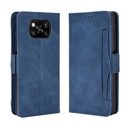 samanoya Funda de teléfono móvil para Xiaomi Poco X3 NFC, piel, función atril, antigolpes, funda para Xiaomi Poco X3 NFC (Xiaomi Poco X3 NFC, color azul)