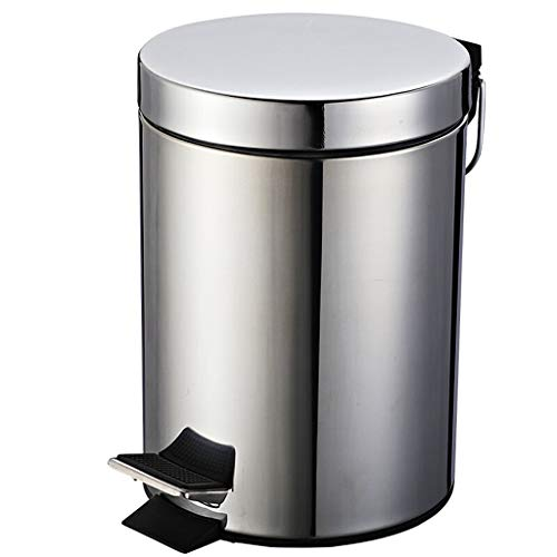 NYKK Mülleimer für die küche Metall Papierkorb, Fußbetätigte Silent-Clamshell Trash Can, Haushalt Sorting Trash Can 8L und 12L / 2 und 3 Gallonen, Edelstahl (Silber) mülleimer (Size : S)