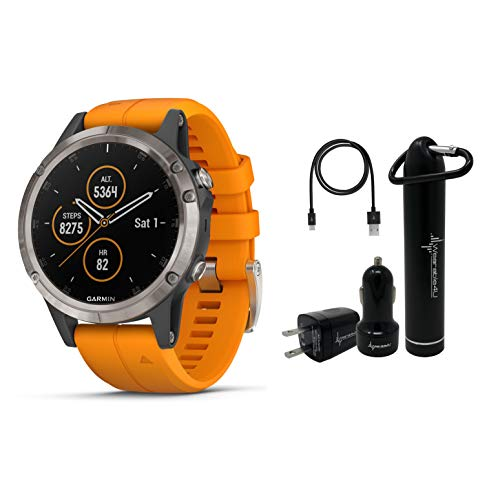Garmin Fenix 5 Plus Premium Multisport GPS Watch with Maps, Music and Contactless Payments and Wearable4U Ultimate Power Pack Bundle (Sapphire/Titanium with Orange Band)