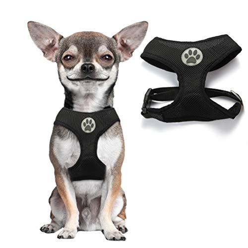 Soft Mesh Dog Harness Pet Walking Vest Puppy Padded Harnesses Adjustable, Black Small