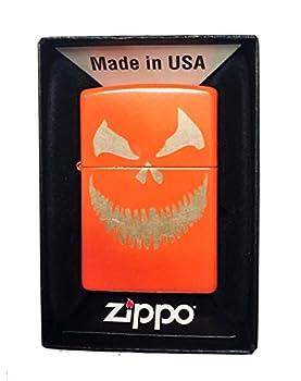 Zippo Custom Lighter - Scary Halloween Jack O Lantern Evil Smile Pumpkin Face - Regular Neon Orange - Gifts for Him for Her for Boys for Girls for Husband for Wife for Them for Men for Women
