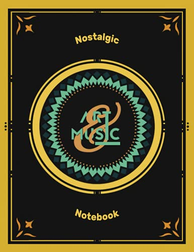 """Nostalgic Notebook with white papers It is a perfect gift for musicians and art lovers: size : 8,5"""" x 11"""" inch - 100 pages glossy cover - Notebook"""