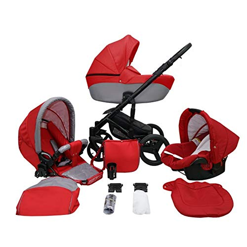 Kinderwagen Pram Pushchair Isofix Autostoel DIN EN 1888 Genua door Lux4Kids 3in1 with baby seat Racing Red 6