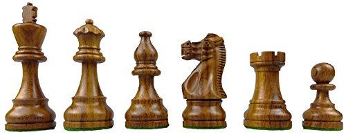 waipawama Schachfiguren aus Holz, gewichtet + Samtbeutel, American Staunton Design, Edelhölzer Königshöhe 95 mm