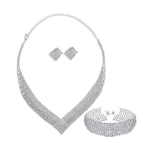 Fransande Juego de joyas de novia de cristal de lujo para mujer con diamantes de imitación transparentes y collares