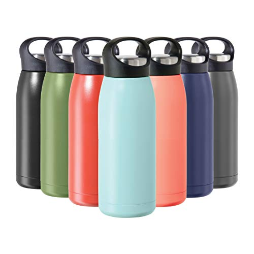 Oggi Freestyle Stainless Steel Insulated Water Bottle- Double Wall Vacuum Insulated, Travel Thermos, 17oz(500ml), Blue Sky (8107.5)