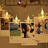 Areskey 星の形クリップライト LEDストリングライト 20LED写真/絵クリップ DIY吊り下げる飾り 3.6M イルミネーションライト 電池駆動式 クリスマス/新年/結婚式/誕生日/パーティー (ウォームホワイト)
