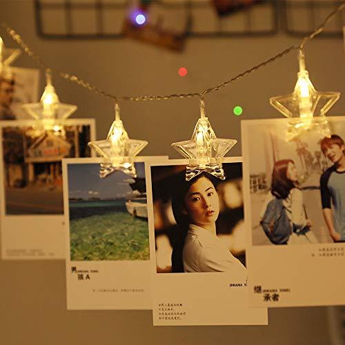 eSky24 LED-Lichterkette Fotoclips Sterne Batteriebetrieb, 20 Lichter Warmweiß, 3m Transparent