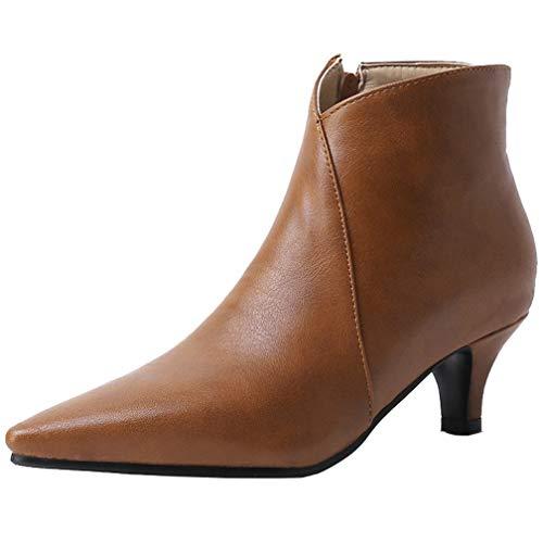 AIMODOR Kitten Heels Stiefeletten Spitze Damen Ankle Boots mit Reißverschluss braun 38