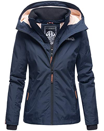 Marikoo Damen Regen Jacke Outdoor Regenjacke Winterjacke Fleece Gefüttert Kapuze XS - XXL Erdbeere (M, Navy)