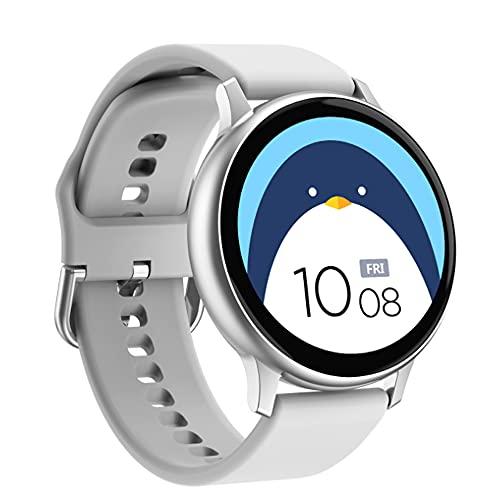 Reloj inteligente ECG Monitor de frecuencia cardíaca Bluetooth Pulsera Full Touch Sport Watch para Android IOS iPhone Samsung Xiaomi Phones (Blanco)