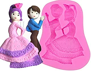 S.Han Silicone Dancing Couple Fondant Mold Mould Baking Cake Decoration Tool