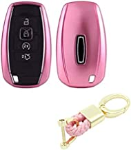 Royalfox(TM) 3 4 5 Buttons TPU Smart keyless Entry Remote Key Fob case Cover Keychain for 2017 2018 2019 Lincoln Continental MKC MKZ Navigator (Pink)