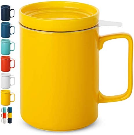 BTaT Tea Cup with Lid Tea Infuser Cup 500ml 16oz Mug Yellow Tea Cup with Stainless Steel Filter product image