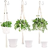 Plant Hangers Indoor, Macrame Plant Hanger with Pot Included 3 Trays and 3 Pack Handmade Ropes with Decorative Wood Beads & 3 Hooks Hanging Flower Pots for Indoor Outdoor Boho Home Decor